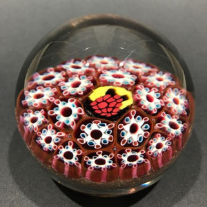 Vintage Murano Art Glass Paperweight Complex Concentric Millefiori & Berry Cane