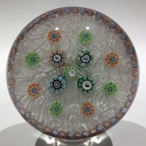 Vintage Perthshire Art Glass Paperweight Spaced Silhouette Millefiori PP11