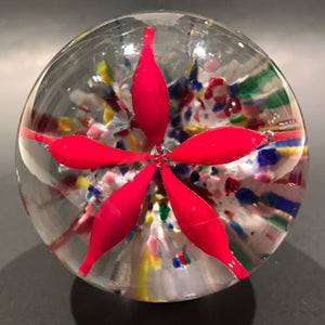 Antique American Art Glass Paperweight Red Lilly Flower Multicolored Ground
