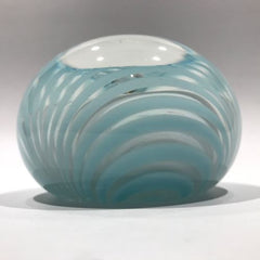 Signed American Studio Art Glass Paperweight Modern Blue & White Marbrie