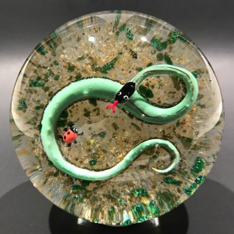 Vintage John Gentile Art Glass Paperweight Lampworked Snake and Lady Bug