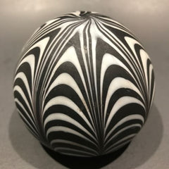 Vintage Murano Art Glass Paperweight Black & White Satin Finished Marbrie