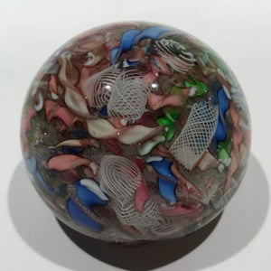 Vintage Murano Art Glass Paperweight End of Day Aventurine Ribbon Scramble