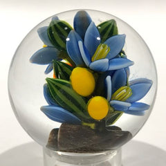 Colin Richardson Art Glass Paperweight Orb Floral Lampworked 2 Sided Marble