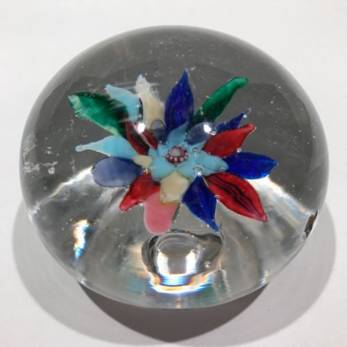 Antique Boston & Sandwich Art Glass Paperweight Fantasy Flower W/ Millefiori