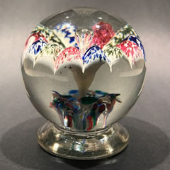 Antique Millville Footed Art Glass Paperweight Tricolor Paneled Umbrella