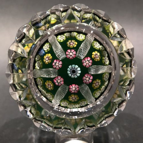 Vintage Whitefriars Multifaceted Art Glass Paperweight Millefiori & Latticino