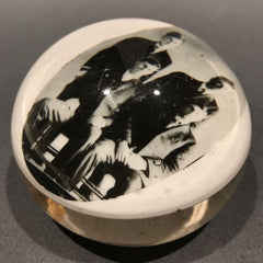 Antique American Graeser? Art Glass Paperweight Four Gentlemen Photo Plaque
