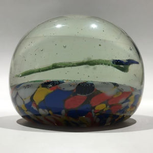 Antique German Thuringian Art Glass Paperweight Lampworked Flower & Millefiori Scramble