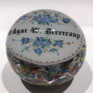 Huge Antique Millville Art Glass Paperweight Hand Painted Floral Name Plaque