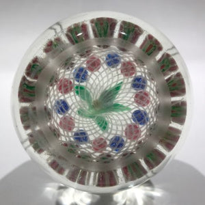 Early Chinese Art Glass Faceted Paperweight Millefiori Nosegay Bouquet