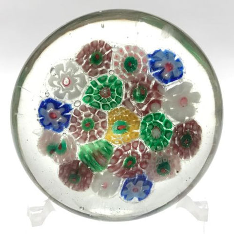 1930's Chinese Art Glass Paperweight Complex Concentric Millefiori