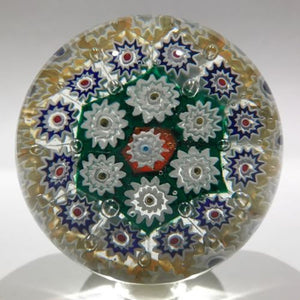 Large Vintage Murano Art Glass Paperweight Colorful Concentric Millefiori