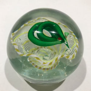 Rare Vintage Murano Art Glass Paperweight Coiled Snake in Yellow & White Basket