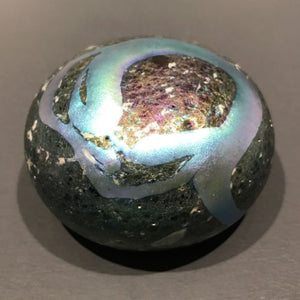 Signed Charles Lotton Art Glass Paperweight Iridescent Blue Volcanic Surface