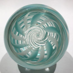 Vintage Pairpoint Art Glass Paperweight Green & White Swirl W/ Millefiori Center