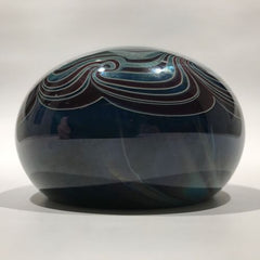 Signed Mark Cantor Art Glass Paperweight Metallic Pulled Feather Design