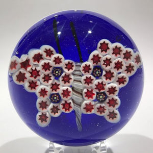 Large Chinese? Murano? Art Glass Paperweight Composite Millefiori Butterfly