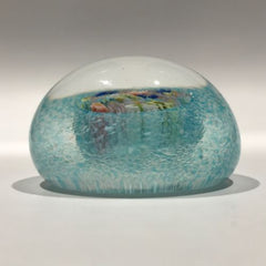 Vintage Miniature Murano Art Glass Paperweight Complex Daisy Millefiori on Blue