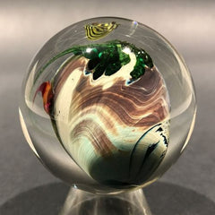 "Early Josh Simpson Art Glass Handmade Marble 2"" Inhabited Planet"