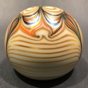 Signed Steven Smyers Art Glass Paperweight Surface Decorated Gold Pulled Feather