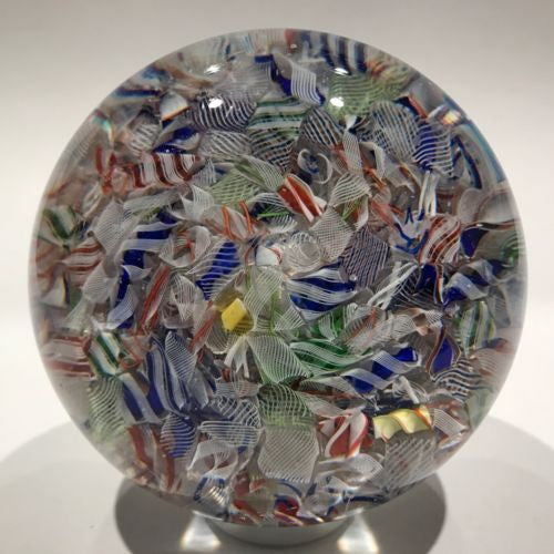 Large Antique Baccarat Art Glass Paperweight End of Day Latticinio Scramble