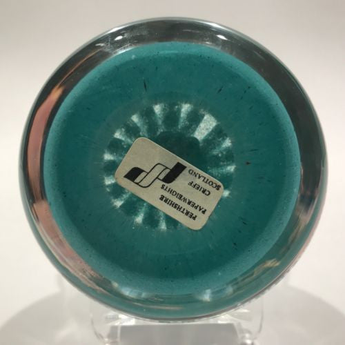 Vintage Perthshire Art Glass Paperweight Twist & Millefiori on Turquoise PP62