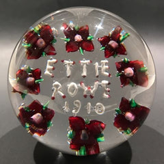 "Rare Antique Union Glass Somerville Ma. Art Glass Paperweight ""Ettie Rowe 1910"""