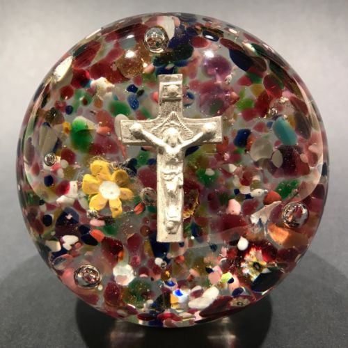 Antique Unknown French Art Glass Paperweight Crucifix Sulphide w/ Millefiori