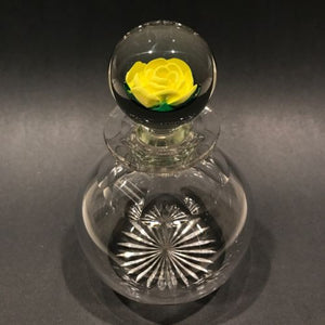 Vintage Francis Whittemore Art Glass Paperweight Yellow Crimp Rose Bottle