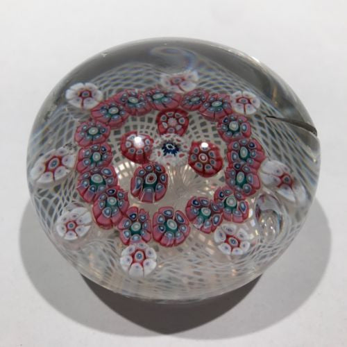 Damaged Antique New England Glass Co. Paperweight Millefiori Lattice Basket