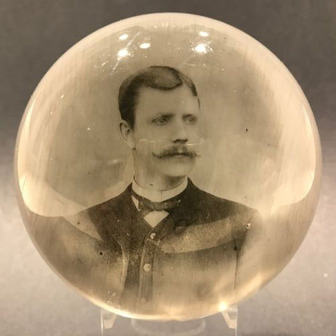 Antique American Albert Greaser? Art Glass Encased Photo Plaque Paperweight