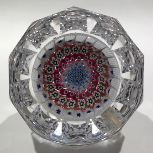 Vintage Whitefriars Fancy Faceted Art Glass Paperweight Concentric Millefiori