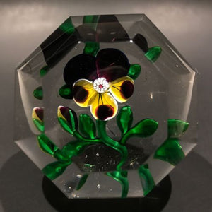 Antique Baccarat Faceted Art Glass Paperweight Lampworked Pansy