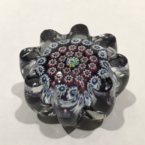 Miniature John Deacons Art Glass Paperweight Concentric Millefiori Thistle Cane