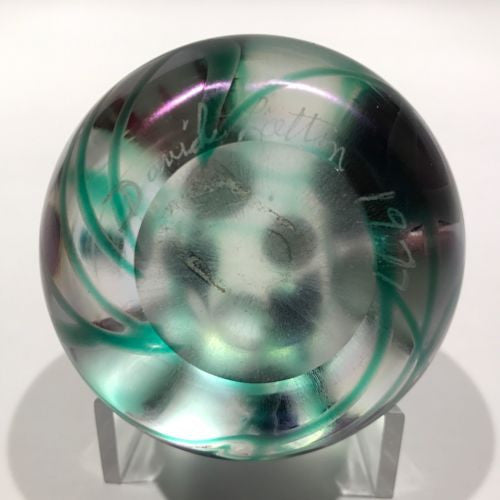 Signed David Lotton Art Glass Paperweight Iridescent Millefiori Vine