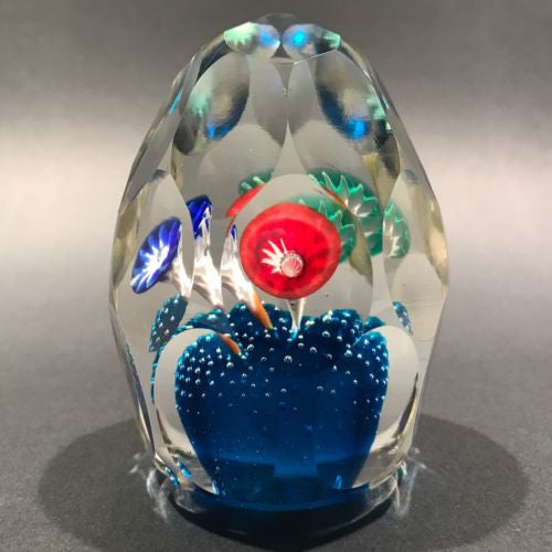 Vintage Murano Faceted Art Glass Paperweight Icepick Millefiori Flowers on Blue