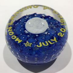Vintage John Gentile Art Glass Frit Paperweight Moon Landing July 20, 1969