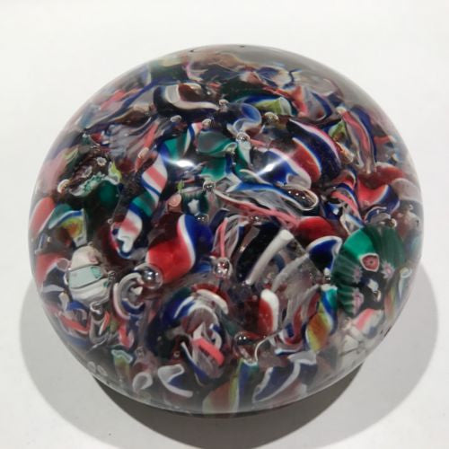 Antique New England Glass Co. NEGC Art Glass Paperweight Millefiori Scramble