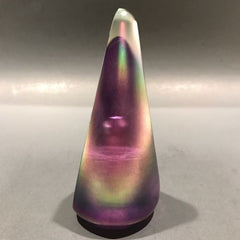 Signed Stuart Abelman Modern Art Glass Paperweight Conical Iridescent Overlay