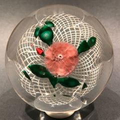 Antique New England Glass Co. NEGC Glass Paperweight Lampworked Pink Pompon Flower Basket