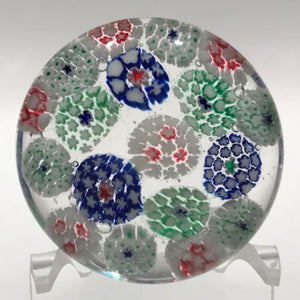 Antique Bohemian Art Glass Paperweight Concentric Complex Millefiori