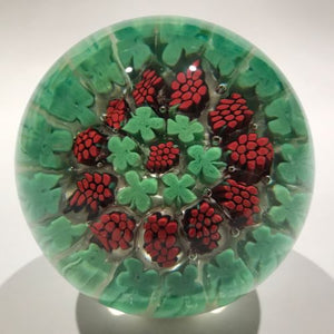 Vintage Murano Fratelli Toso Art Glass Paperweight Shamrock Grape Canes
