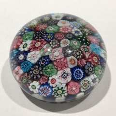 Miniature Antique Clichy Art Glass Paperweight Close Packed Millefiori in Staves