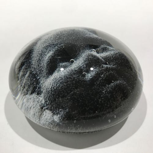 Signed Chris Belleau Art Glass Paperweight Encased Dimensional Face