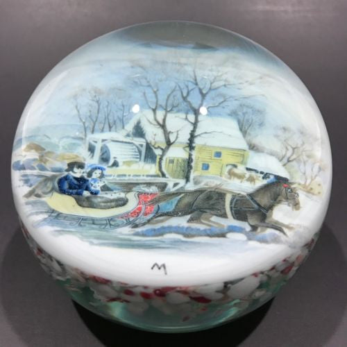 Vintage Tom Mosser Art Glass Paperweight Currier & Ives Encased Printed Plaque
