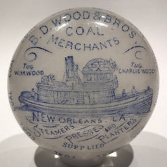 Antique William Maxwell Art Glass Advertising Paperweight New Orleans Coal Boat
