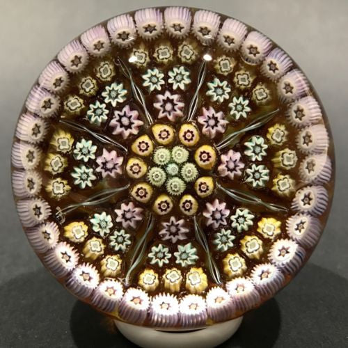 Vintage Perthshire Art Glass Paperweight PP5 Millefiori & Ribbon Twists