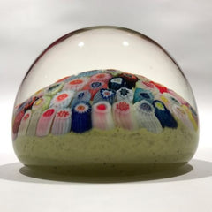 Vintage Strathearn Art Glass Paperweight Closepack Millefiori on Yellow Ground