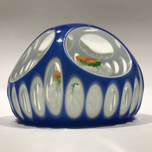 Vintage Murano Art Glass Paperweight Double Pear Faceted Double Overlay